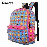 Unisex Lightweight Children Students Canvas Cute Emoji Backpack Smile Face Satchel School Bookbag Shoulder Pack New