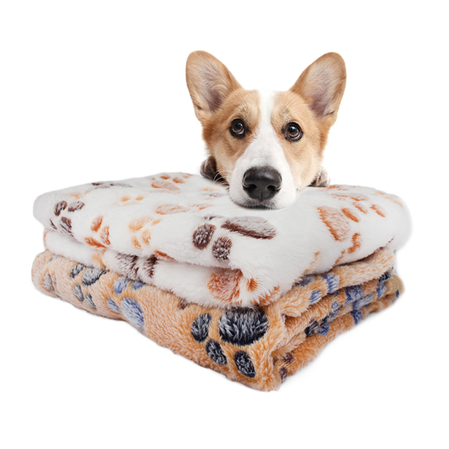 Pet Soft Pet Blanket Winter Dog Cat Bed Mat Foot Print Warm Sleeping Mattress Small Medium Dogs Cats Coral Fleece Pet Supplies 4