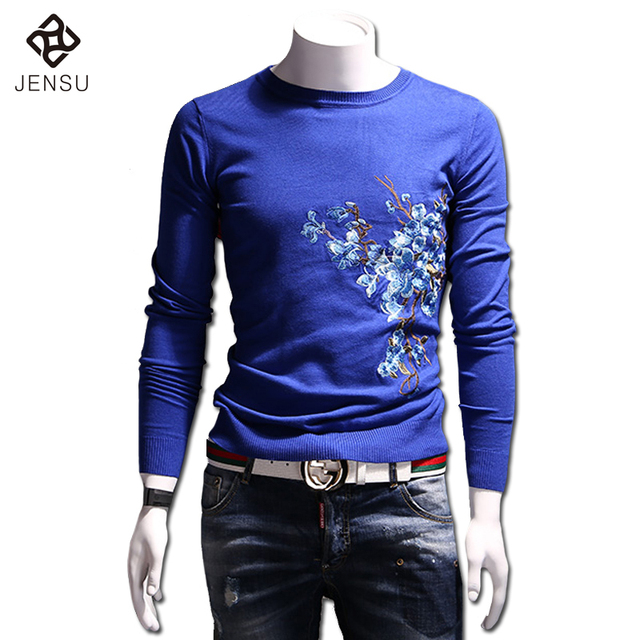 2016 Men Floral Sweaters and Pullovers Menswear Hombre Men's Casual Fashion Slim Fit Long Sleeved O Neck Knitted Sweaters Male