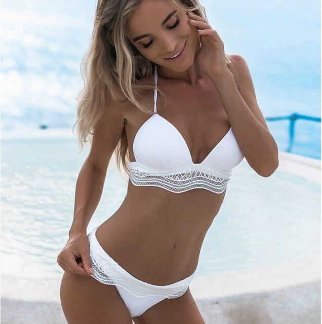 Bañadores mujer Bikini 2018 blanco Halter encaje Spandex traje de baño 0Zf0yTN1ZB