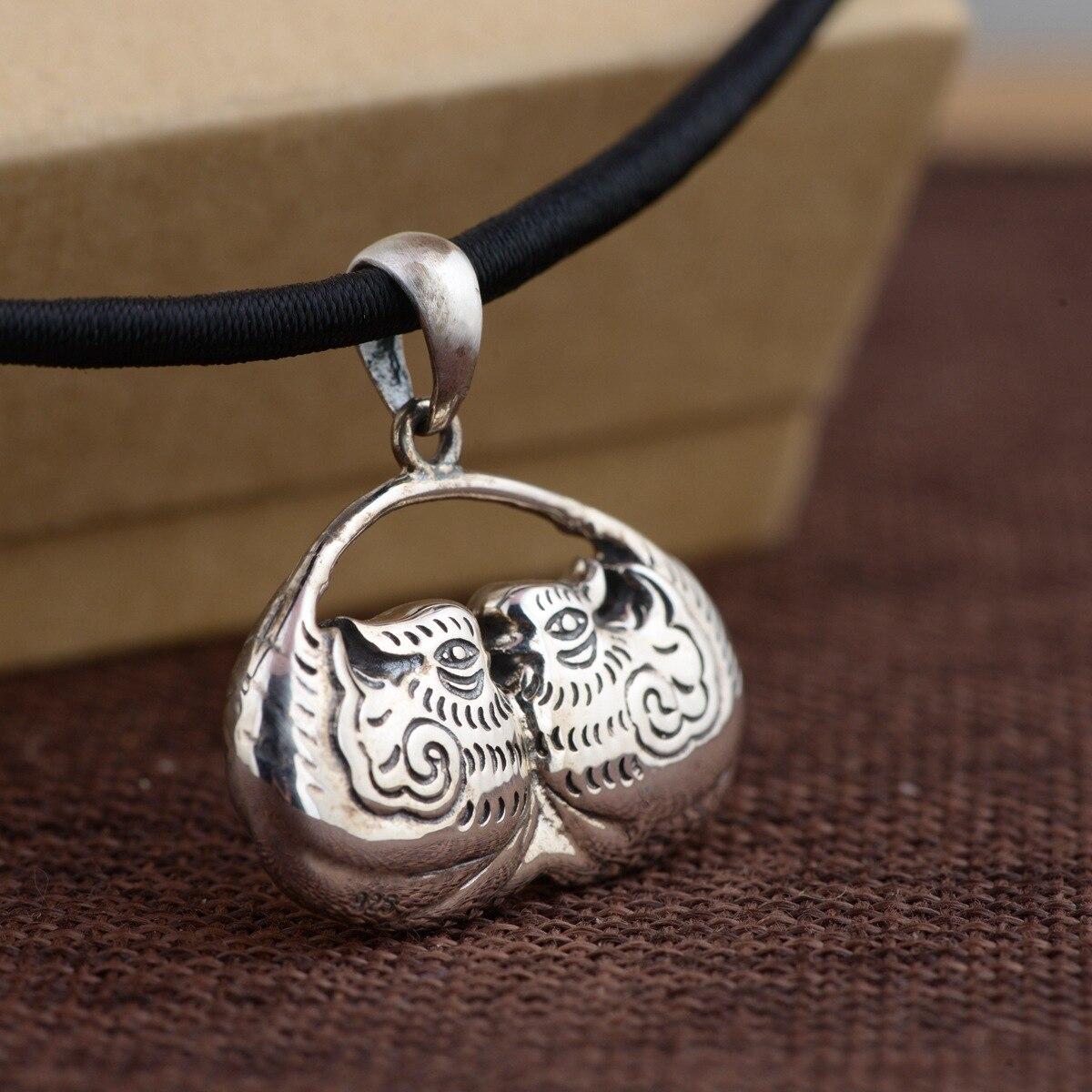 Cerf roi bijoux pendentif en argent S925 en argent Sterling Antique femme canard forme pendentif cadeau artisanat