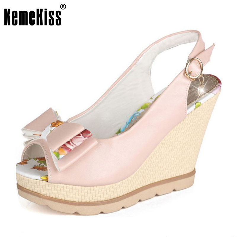 KemeKiss Size 33-41 Women High Wedges Sandals Open Toe Bowknot Summer Shoes Women Buckle Print Platform Sandal Bridal Footwear phyanic 2017 gladiator sandals gold silver shoes woman summer platform wedges glitters creepers casual women shoes phy3323