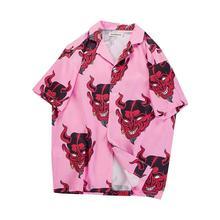 Camisa Streetwear Men Shirts Short Sleeve Devil Rapper Harajuku Loose Hawaiian Floral Full Printing Summer Shirt Chemise Homme