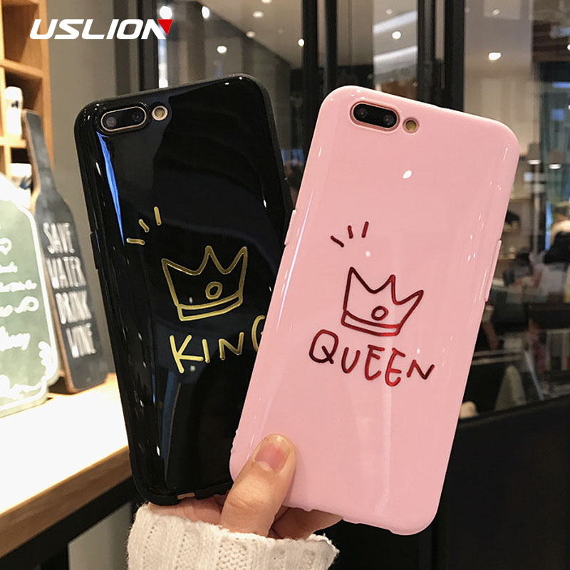 USLION Crown Phone Case For iPhone XS MAX 6 6s Plus Letter KING Back Cover Love Heart Soft TPU Cases For iPhone XR X 8 7 Plus iPhone