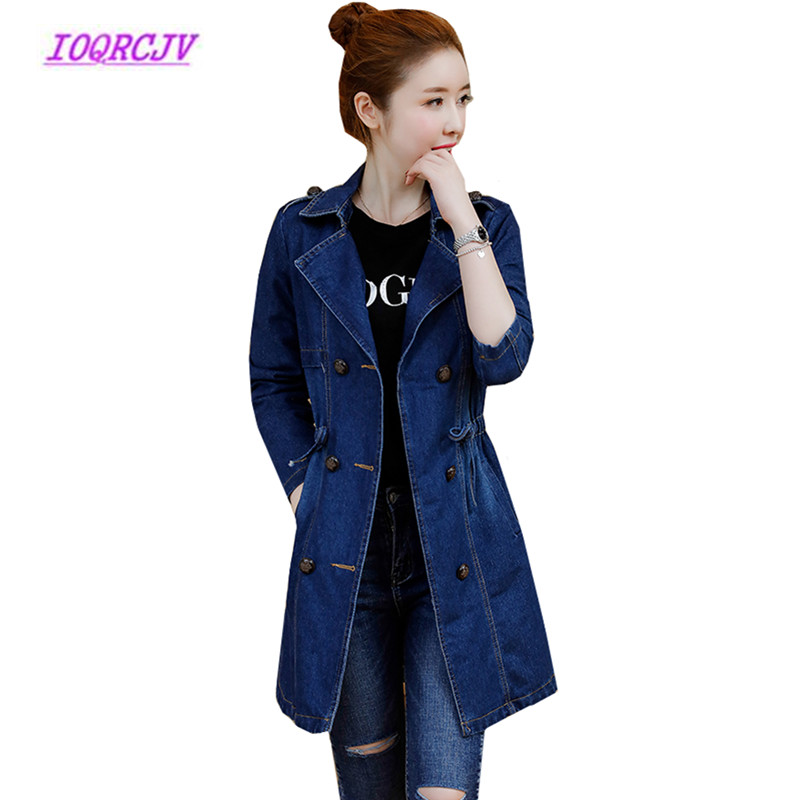 Plus size 5XL Denim   trench   Coats women Spring Autumn Medium length Jeans windbreaker coat Slim Korean tops embroidery coats B81