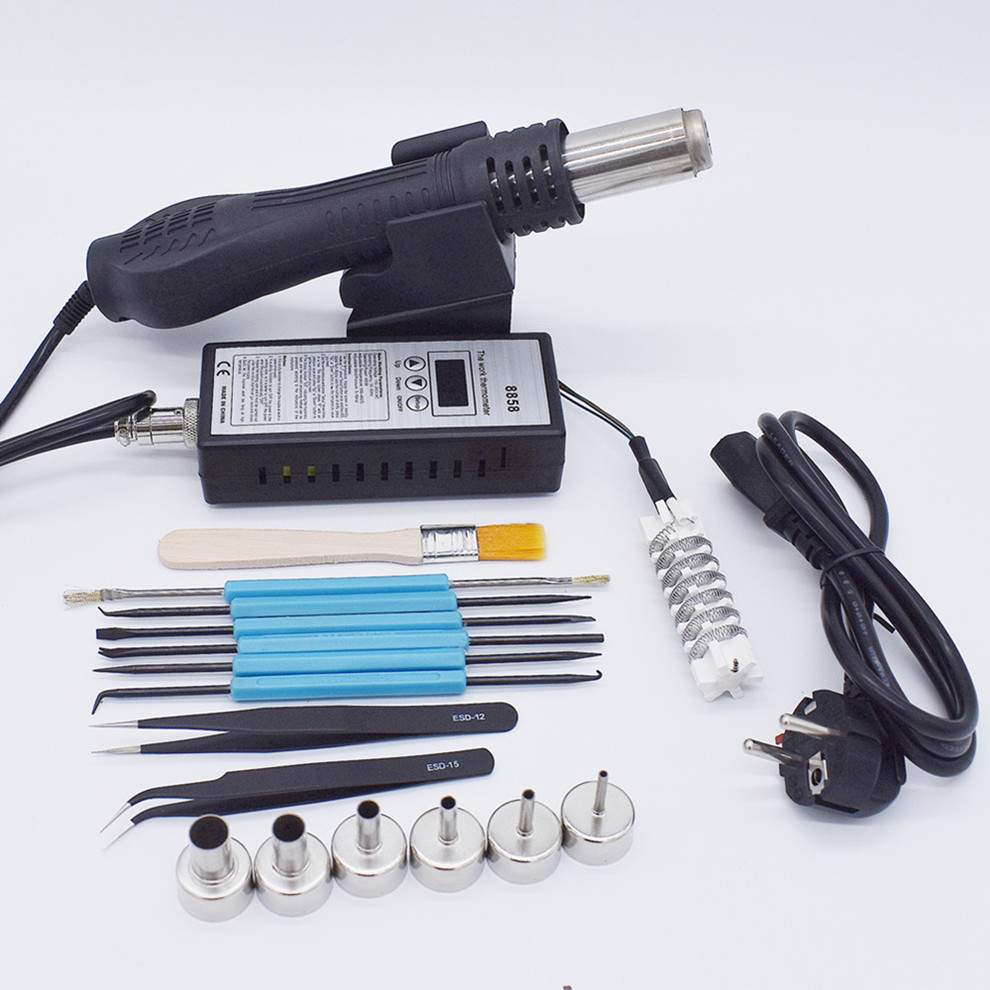 Image 2 - 220V 110V 8858 Hot Air Gun BGA Rework Solder Station Hot Air Blower With Soldering iron Welding Repair Tools-in Heat Guns from Tools on