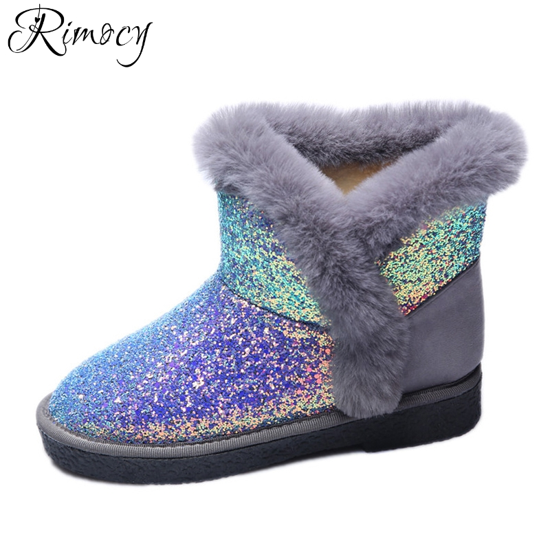 Rimocy glitter snow boots women 2017 thick fur soft flat heels cotton padded warm winter shoes woman casual plush ankle boots new fashion warm fur leather men snow shoes flat heels plush ankle winter casual shoes platform outdoor men cotton shoes