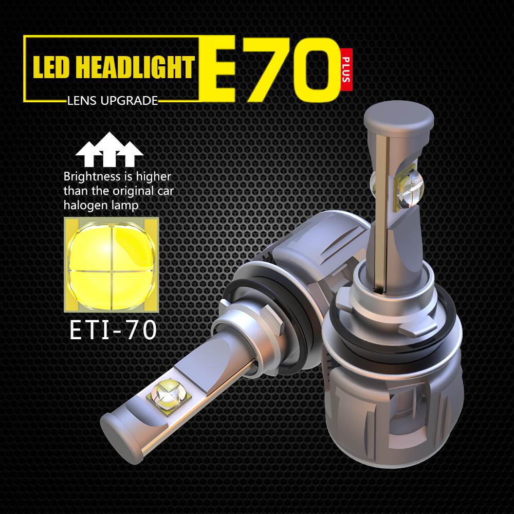 1 SET H8 H9 H11 ETI 70 LENS CHIPS E70 LED Headlight Projector Turbo Fan Focus Beam Automotive Car Front Lamps Bulbs 120W 12000lm