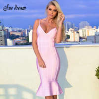 Bandage Dress 2017 Summer Women Pink Spaghetti Strap Mermaid Vestidos Deep V Neck Knee Length