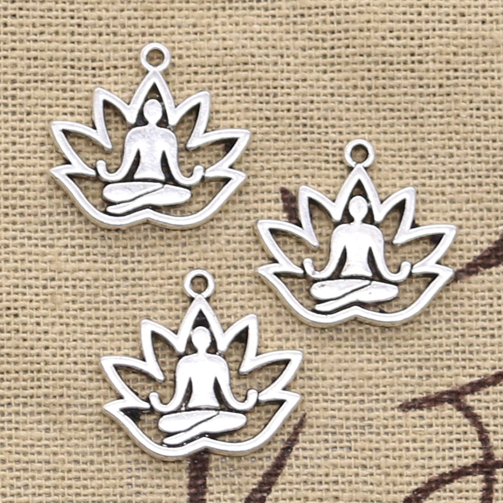 10pcs Charms Yoga Om Lotus Padmasana 16x18mm Antique Silver Plated Pendants Making DIY Handmade Tibetan Silver Finding Jewelry