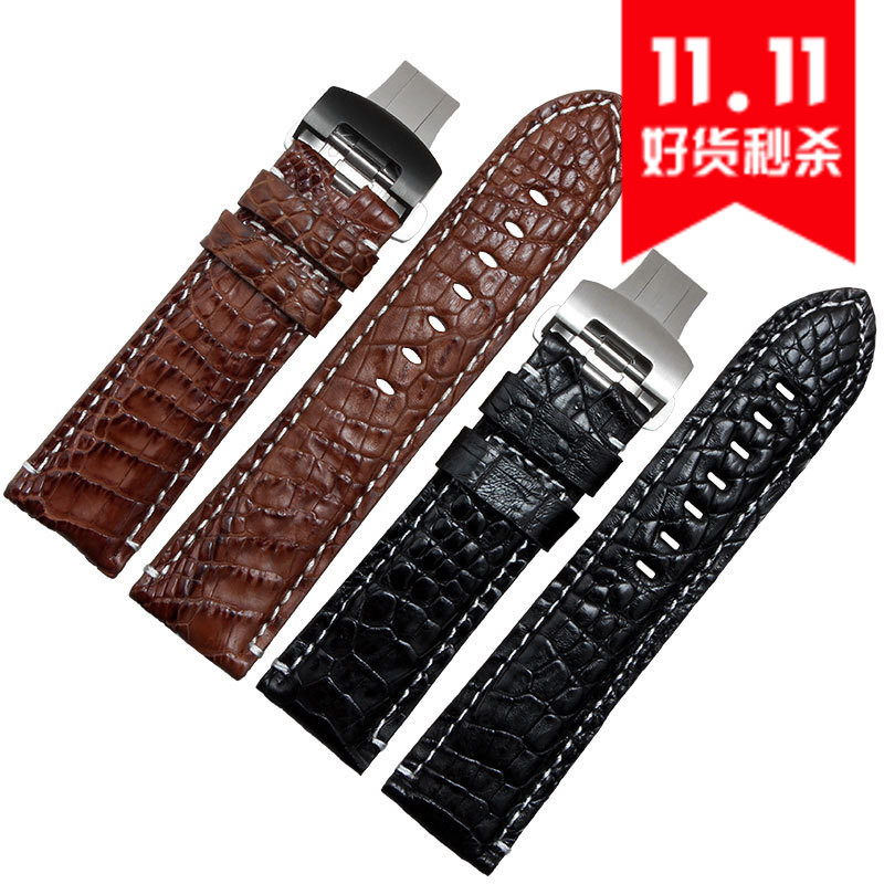 Free shipping 22mm  New Mens Black Brown alligator genuine leather watch band butterfly Watch Buckle