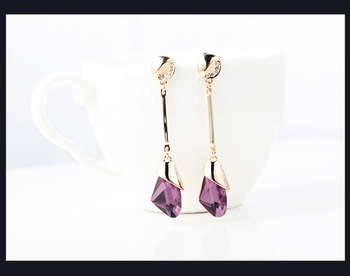 Women's Drop Crystal Earrings Earrings Jewelry Women Jewelry Metal Color: E071 purple red