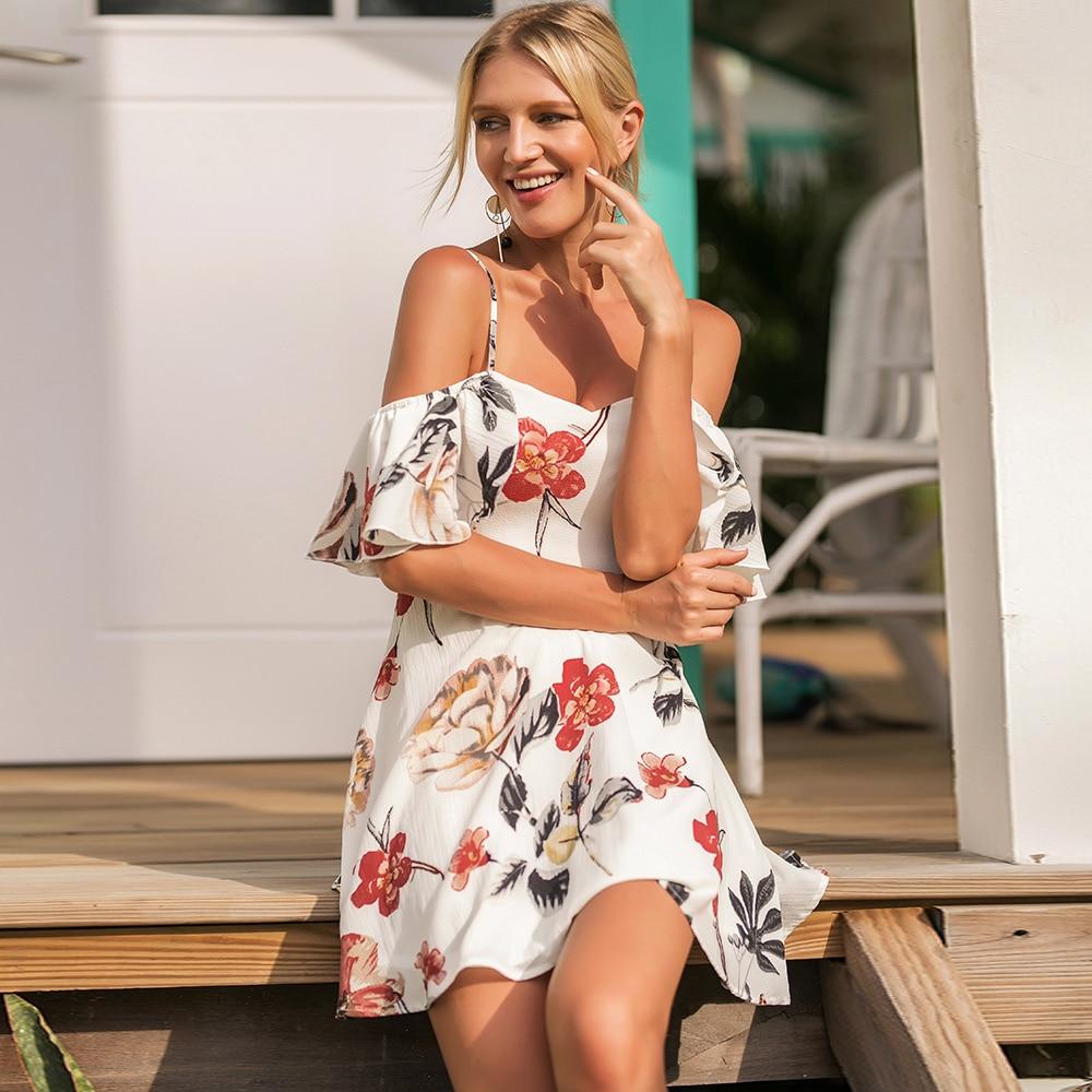Dower Me Sexy Off Shoulder Ruffle Sleeve Women Dress Spaghetti Straps Loose Vestidos Floral White Summer Bohemian Beach Dresses