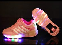 Colorful LED Flashing Single Roller Skates Shoes for Kids Boy Girl Roller Skates Pulley LED Heelys Sneakers Child Gift Pink(China)