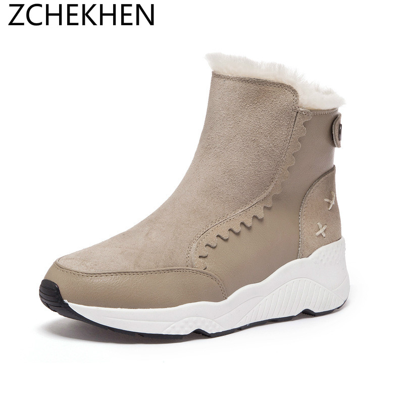 2019 Winter warm Fur Women boots Woman cow suede Snow Boots Ankle Platform Wedge hidden boots Fashion Femme Footwear tie up pompons hidden wedge snow boots