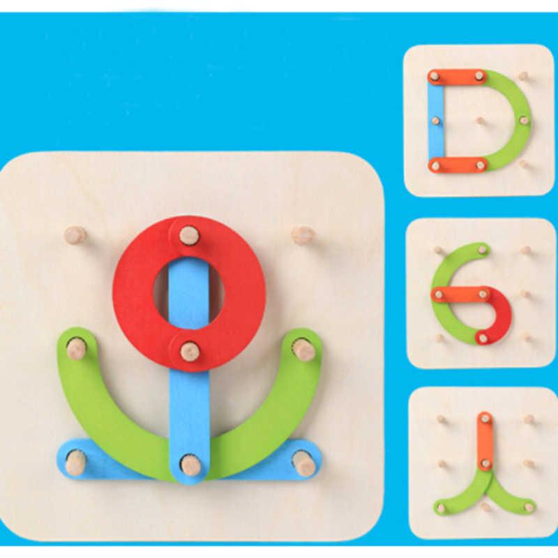 Геометрический алфавитный столбец цифровой/буква/головоломка с животными деревянный Прорезыватель для мозгов дети воображение обучающий пазл детские игрушки