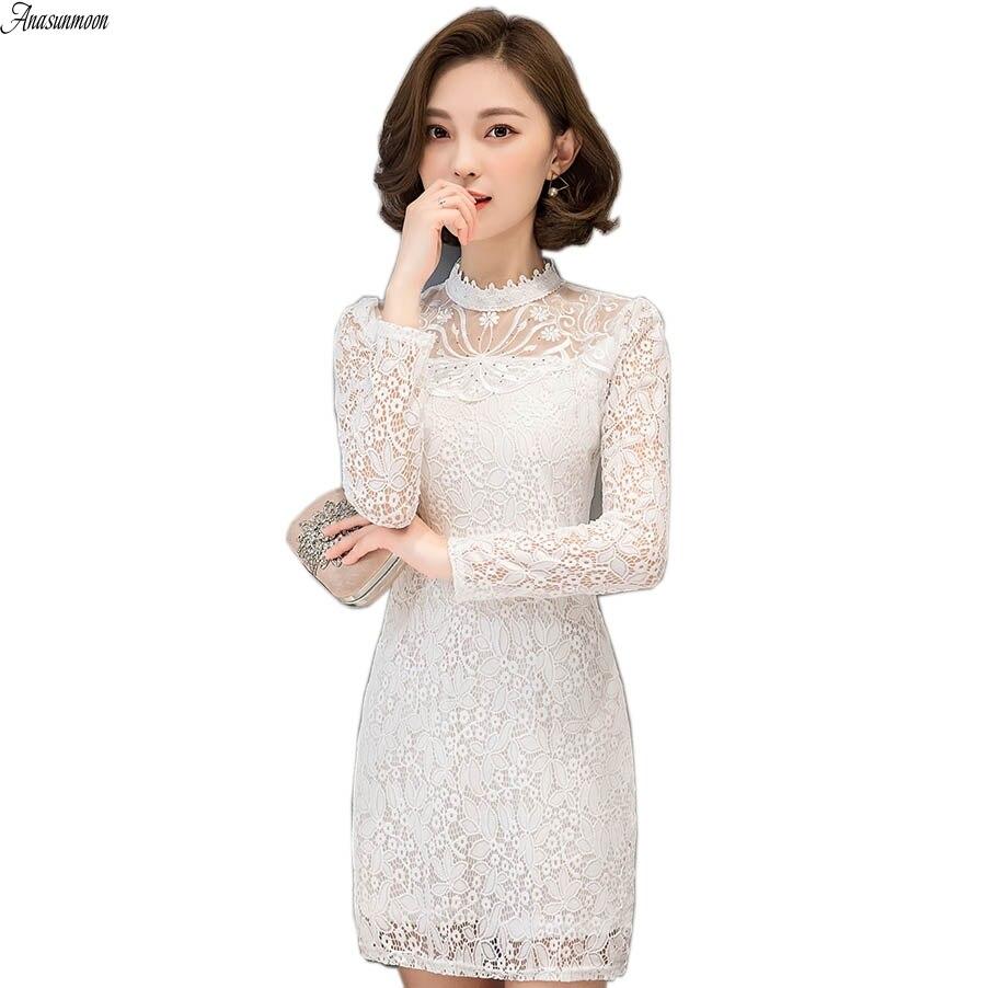 Anasunmoon Бренд женское платье 2017 Весна Bodycon платья Плюс Размеры китайский Для женщин s Костюмы пикантные белые Вечеринка кружевные платья