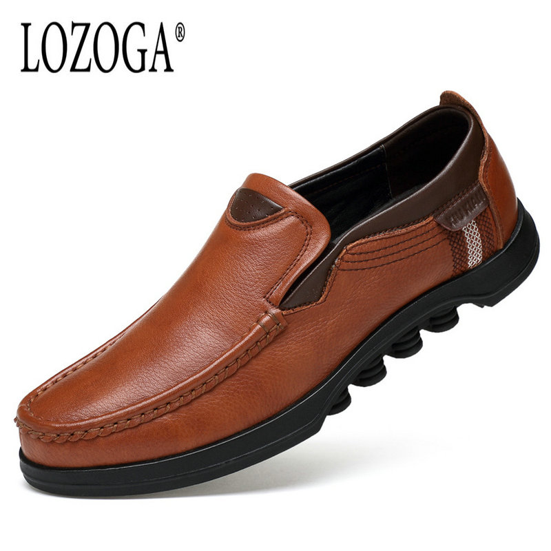 Lozoga 2018 Men Leather Shoes Handmade Moccasins Genuine Cow Leather Men Loafers Design Slip on Comfortable Peas Shoes Men Flats lozoga 2018 men leather shoes handmade moccasins genuine cow leather men loafers design slip on comfortable peas shoes men flats