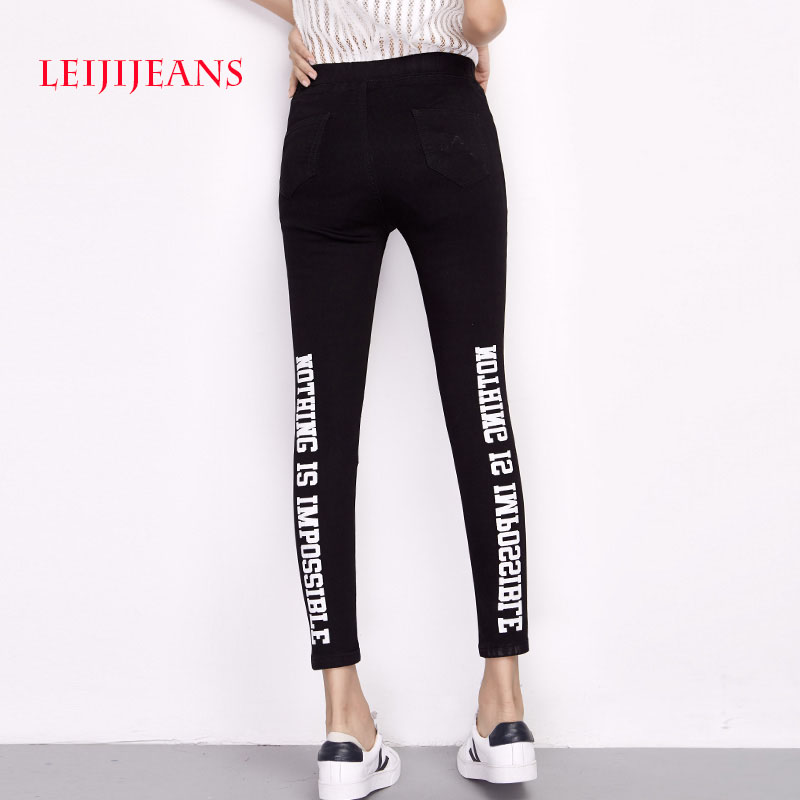 LEIJIJEANS Letter Black Jeans for Women Plus Size S-6XL Mid Waist Jean High Elastic Jeans Women Casual Ankle Length Skinny Jeans 2017 leijijeans jeans women mid elastic dark blue plus size jeans with embroidery pants full length loose style straight fat mm