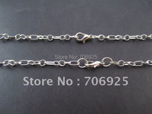 Free shipping Wholesale 75cm  Fashion Silver color 0 chain with clasp Lobster (3mm width ) 50pcs/lot