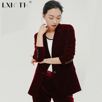 2XL 3XL Velvet Blazer Coat Slim Woman Suit Blazer Two Bottons Suit Jacket Women Midi Length