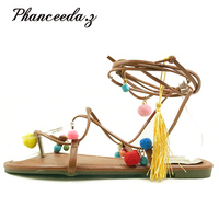 2017 Cute Furry Colorful Ball S Women Sandals Flat Lace Up Flip Flops Beach Gladiator Sandal