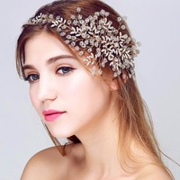 Top Quality Elegant Bridal Wedding Party Jewelry Gold Sliver Leaves Pearl Headbands Flower Head Piece Bride