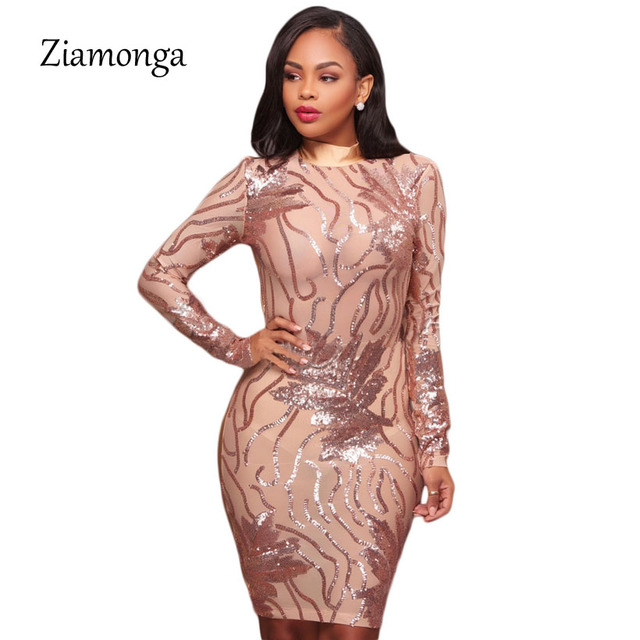 Ziamonga Autumn Winter Black Gold Long Sleeve Sequined Dress 2017 Sexy  Bodycon Sheath High Neck Party 0a0b22ac4b89