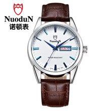 Nuodun ультратонкие Женщины Кварцевые Часы Дамы Моды Женщины Наручные Часы Повседневная Бизнес Натуральная Кожа Кварцевые Часы Водонепроницаемые