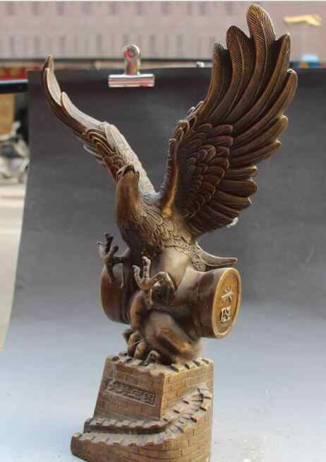 """Livraison 19 """"Chinois Folk Classique Bronze paix aigle faucon faucon roi des oiseaux Statue rapide"""