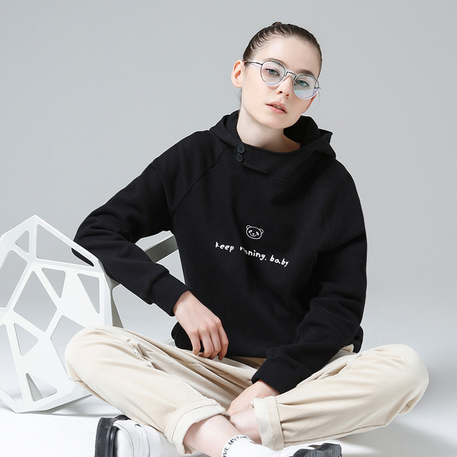 Toyouth Autumn Women Panda Fleece Hoodies Sweatshirts Casual Long Sleeve Tracksuits Female Letter Printed Pullover Moletom