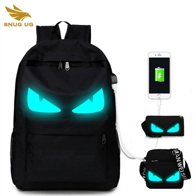 Snugug 3pcs School Backpack Anime Luminous Usb Charge Laptop Computer Backpack For Teenager Anti Theft Boys School Bag