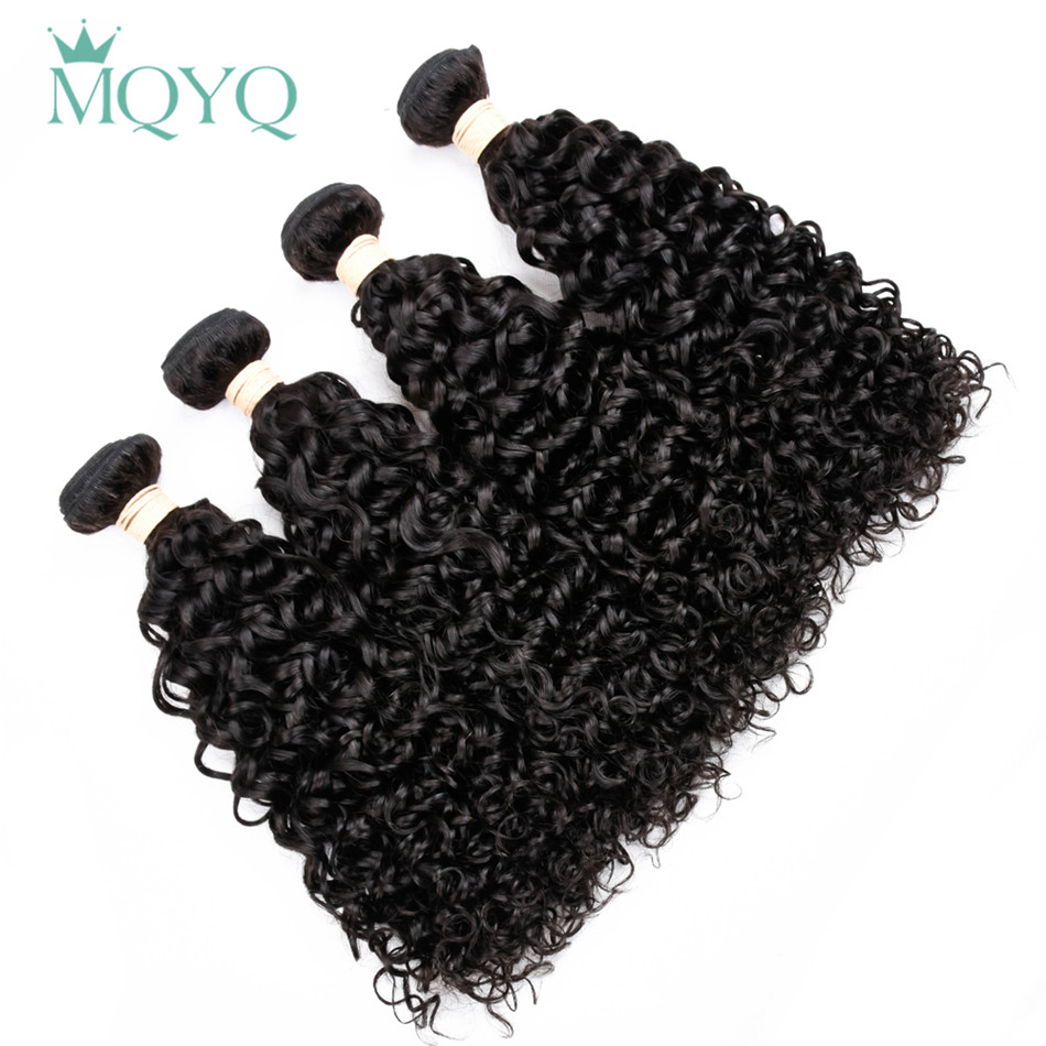 MQYQ Indian Hair Weave 4 Bundles Water Wave 100% Human Hair Weave Bundles Wet And Wavy Non Remy Hair Extensions Natural Black