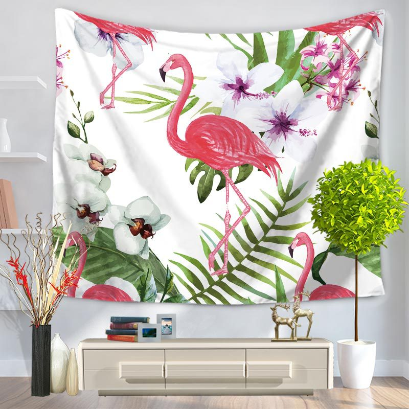 Miracille Tropical Leaf Flamingo Pattern Wall Art Hanging Tapestry Decorative Sofa Chair Cover Fashion Beach Towel Table Cloth
