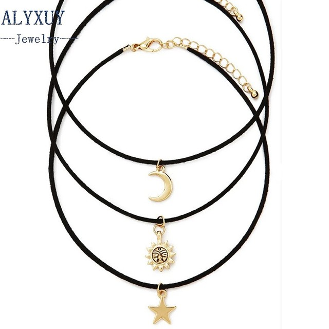 New fashion jewelry leather moon star sun  choker necklace set 1set =3pieces gift for women girl N1778