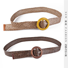 New Vintage Knitted Wax Rope Wooden Bead Waist Women Smooth Buckle Belt Woman Woven Female Hand-Beaded Braided BZ24