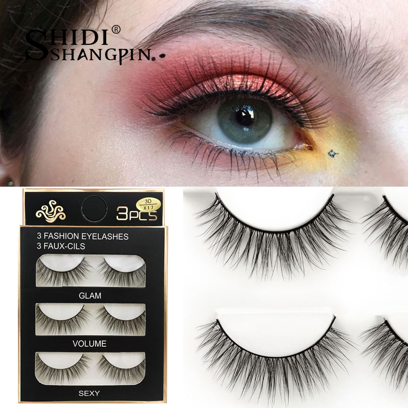 HTB1cYwvXInrK1RkHFrdq6xCoFXaW SHIDISHANGPIN 3 pairs mink eyelashes natural fake eye lashes make up handmade 3d mink lashes false lash volume eyelash extension