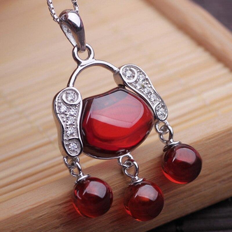 Original Natural Semi-precious Stones 925 Sterling Silver Necklace Bohemian Ethnic Style Retro Garnet Red Lock Pendant Jewelry Necklaces & Pendants Jewelry & Accessories