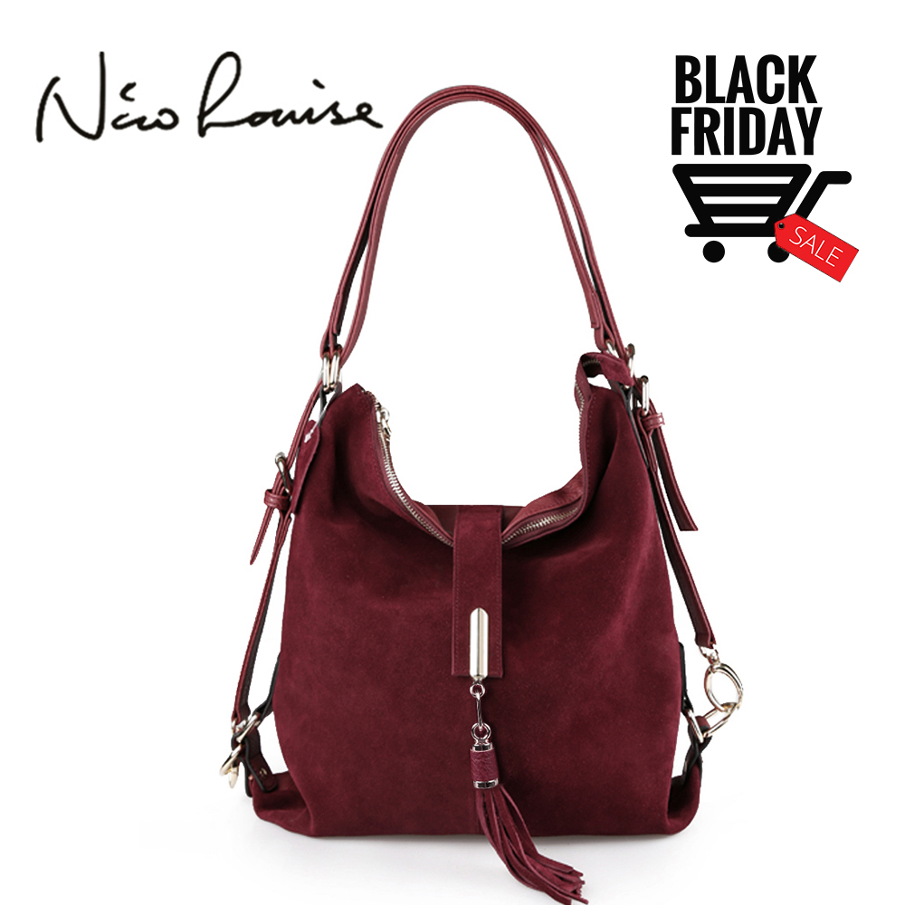 ded2da44f7d4 Nico Louise Women Real Split Suede Leather Shoulder Bag Female ...