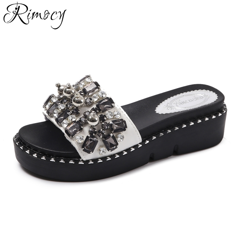 Rimocy high platform sllippers women summer hot rhinestone beaded slip on wedges sandals casual ladies beach slides shoes woman hot new 2018 spring autumn wedges high heels ladies casual shoes vulcanize women slip on platform shoes female chaussure femme