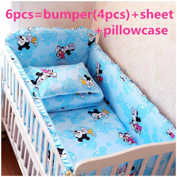 Promotion! 6/7PCS Cartoon Bedding Set 100% Cotton Crib Bedding Package Baby Crib Bedding Bumper,120*60/120*70cm