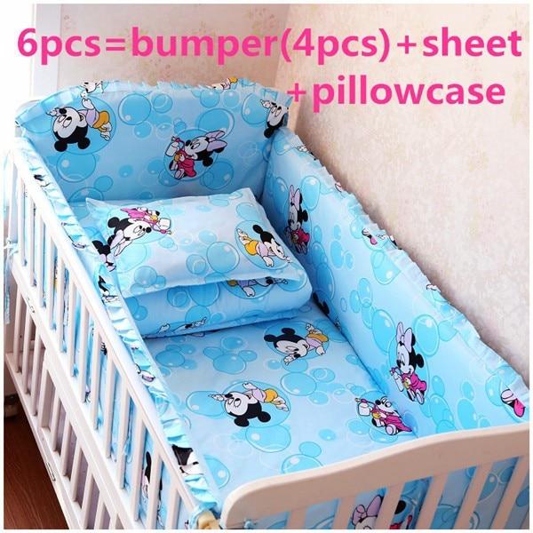Promotion! 6/7PCS Cartoon Bedding Set Cotton Juego De Cama Crib Bedding Package Baby Crib Bedding Bumper,120*60/120*70cm
