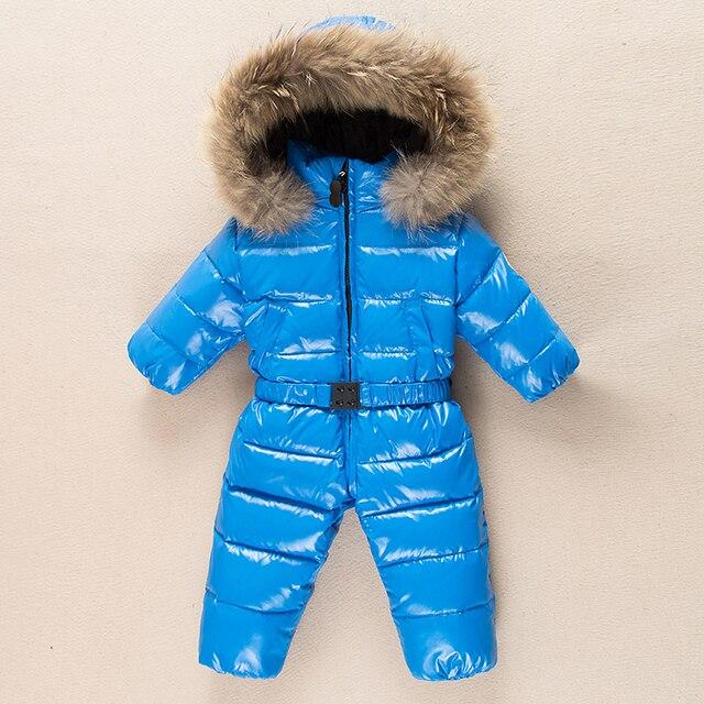 Вниз ребенка Ползунки с Natrual меха с капюшоном малыша вниз ползунки мальчики девочки водонепроницаемый детский Толстые теплые комбинезон комбинезоны зима