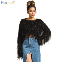 HAOYUAN Cropped Sweater Women Fall Winter Soft Thick Tops Tassel Knitted Mohair Shaggy Jumper christmas Pullovers and Sweaters