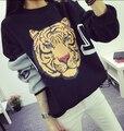 Опрятный Стиль женской Моды Случайные Свободные Утолщение Тигр Печати С Длинными рукавами Пуловер Флис Футболка Harajuku Толстовки