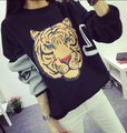 Preppy Style Women's Fashion Casual Loose Thickening Tiger Print Long-sleeve Pullover Fleece Sweatshirt Harajuku Hoodies
