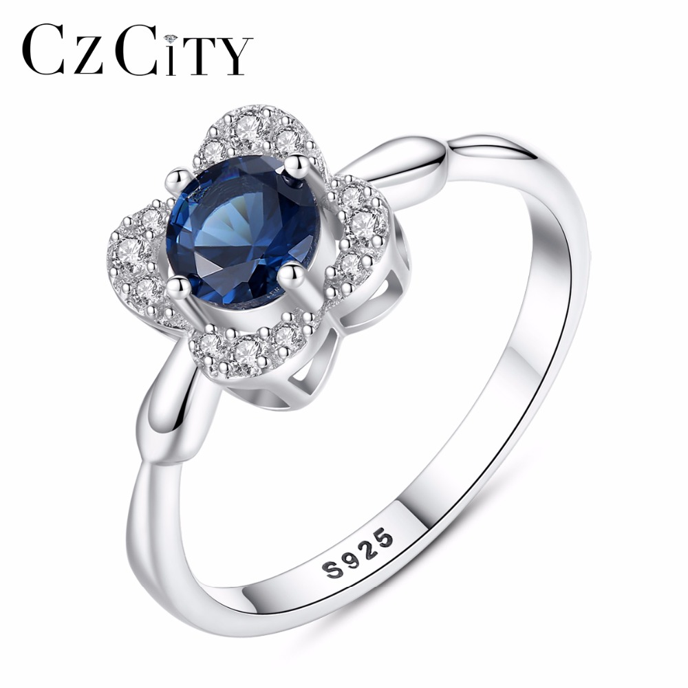 CZCITY Classic Created Blue Sapphire Solitaire Wedding Engagement 925 Sterling Silver Flower Ring For Women Cubic Zirconia Rings