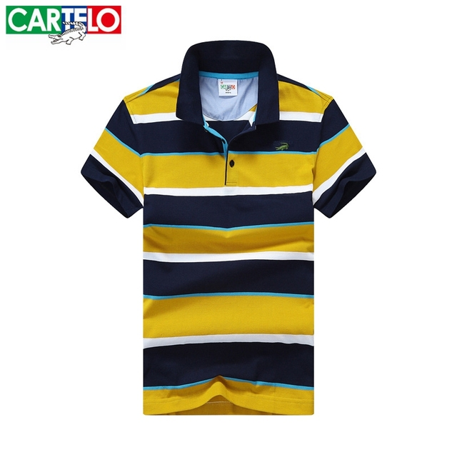 CARTELO brand new 2016 Summer Short Sleeve Mens Polos Homme Turn Down Collar Tops Cotton Brand Men Grey Striped fashion Clothing