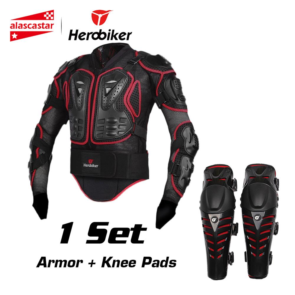 HEROBIKER Equitação Da Motocicleta Armadura Jaqueta + Joelheiras Motocross Off-Road Enduro ATV Corpo De Corrida Equipamentos de Proteção Conjunto Protetor