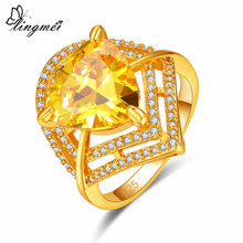 Lingmei Gorgeous Cocktail Party Wedding Jewelry Gold & White Zircon Silver Yellow Goldplated Ring Size 6 7 8 9 Valentine Gift